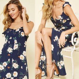 Dresses & Skirts - Blue Floral Ruffle Maxi Dress Butterfly Print